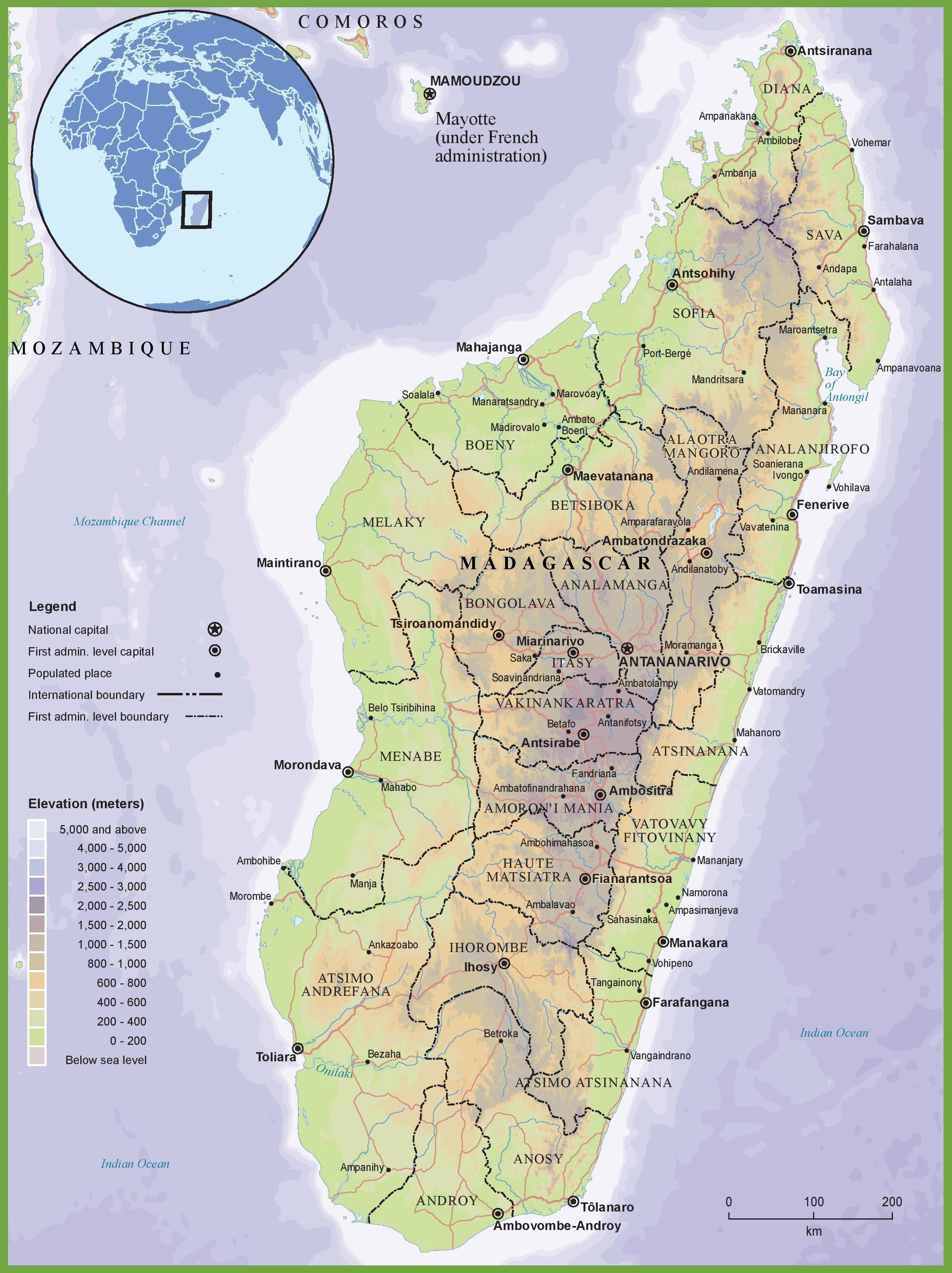 Fysisk Kort Af Madagaskar Kort Af Fysisk Kort Af Madagaskar