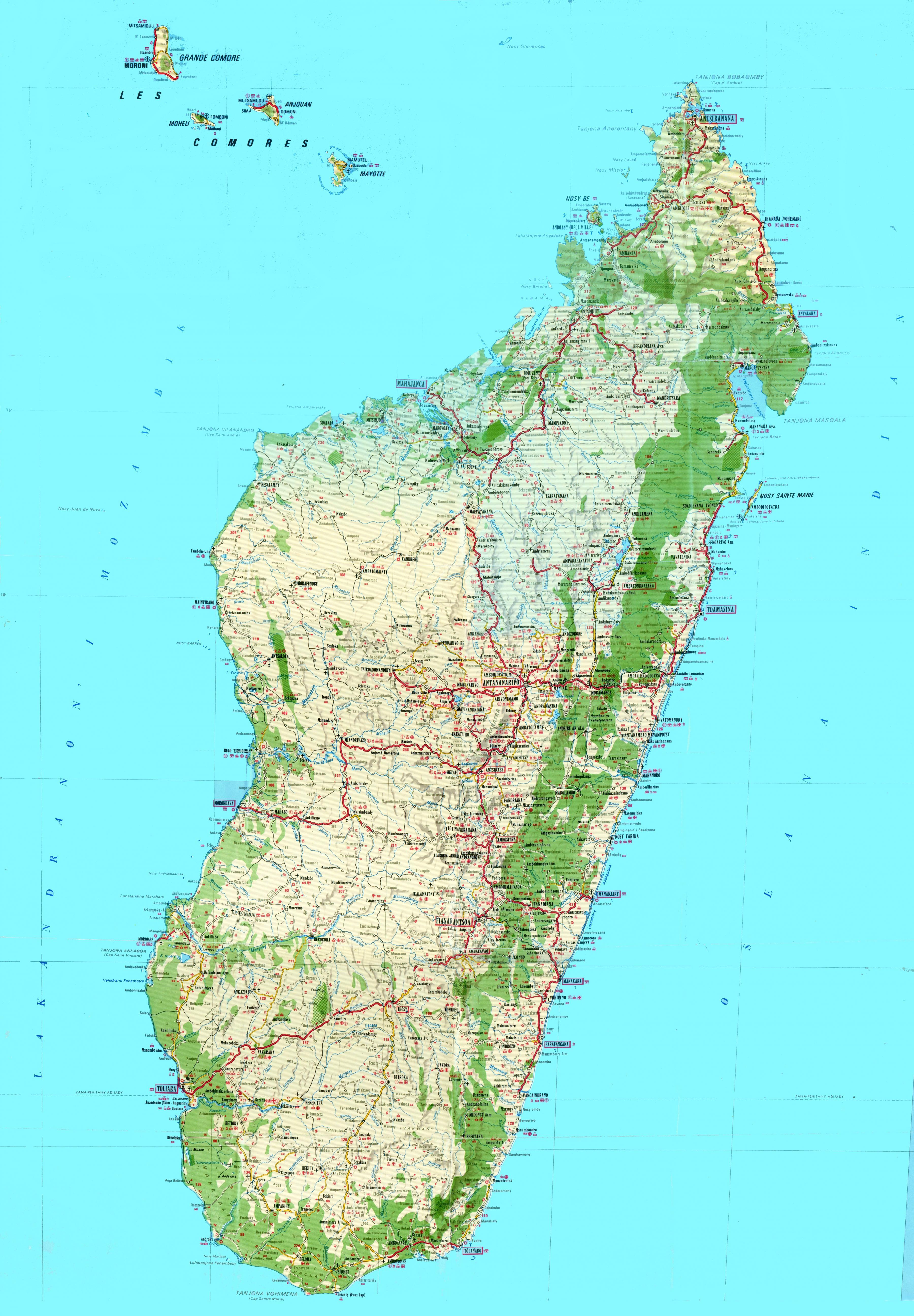 Madagaskar Topografisk Kort Kort Over Madagaskar Topografiske