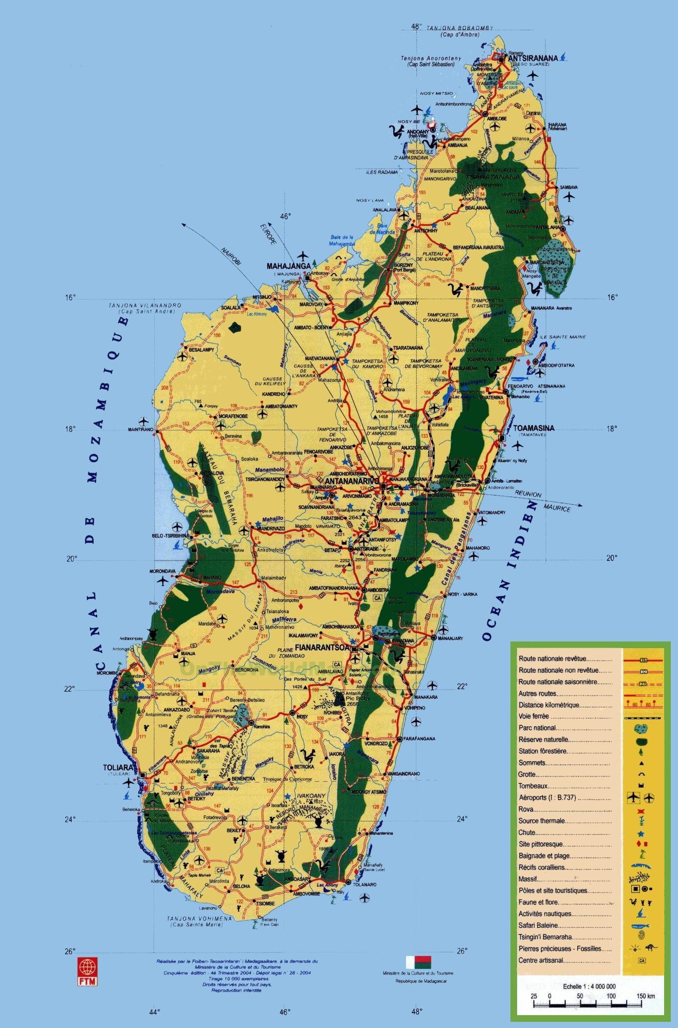 Madagaskar Turist Kort Madagaskar Turistattraktioner Kort